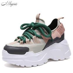 Mhysa 2018 Демисезонный модная женская повседневная обувь удобная обувь на платформе со шнурками женские кроссовки S1119