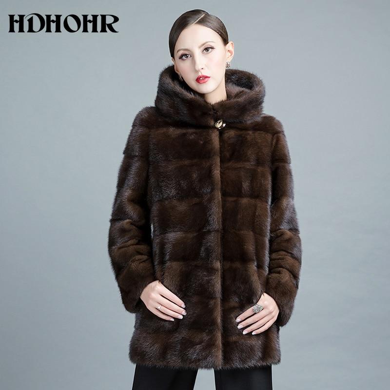 HDHOHR 2019 Baru Natural Mink Fur Coats Wanita Tebal Hangat Musim - Pakaian Wanita - Foto 1