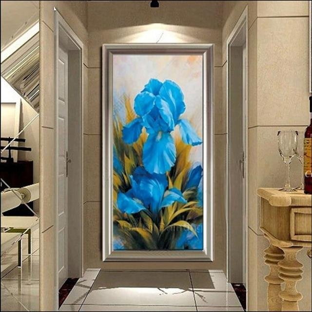 Envio Libre Pintura Moderna Azul Flores Porche Pared Pinturas Al