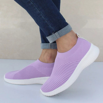 Women Shoes Knitting Sock Sneakers Women Spring Summer Slip On Flat Shoes Women Plus Size Loafers Flats Walking krasovki Famela 7