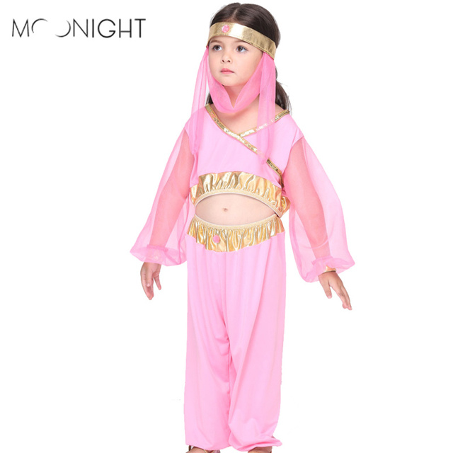 moonight children pink egyptian cleopatra halloween costumes cosplay girls costume egyptian princess party costume