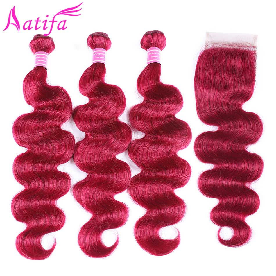 Pre Colored 99j/red Brazilian Body Wave Hair with Closure Human Hair Weave 3 Bundles with Lace Closure 4x4'' Aatifa Remy Hair
