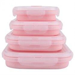 新 4 個セットピンク食品グレードのシリコーン弁当箱折りたたみエコフレンドリー食品容器弁当箱折りたたみポータブル Microwav