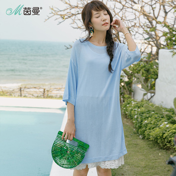 INMAN Summer Loose Style Women Dress Fall Shoulder Sleeves Lace Lined Two-piece Dress