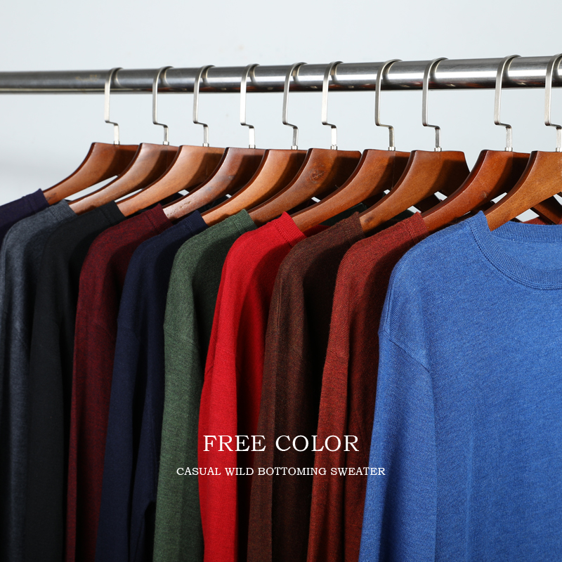 10 Colors Men's Casual Knit Sweater 2019 Autumn Winter New Slim Fit Pullover Wool Cashmere Sweater Men Brand Clothes