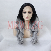 MRWIG Synthetic Wigs Free Part Long Curly Ombre(1b# is 8in) Medium Gray Hair for Women High Temperature Fiber