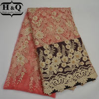2017 Newest African French Net Lace Fabric orange High Quality With Beaded Embroidery Flower gorgeous Nigerian tulle Lace Fabric
