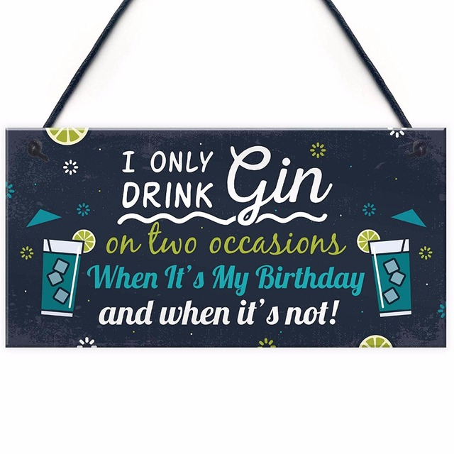 Meijiafei Funny Gin Sign Birthday Gift For Lovers Hanging Alcohol Tonic Friendship Chic Novelty Plaque 10 X 5
