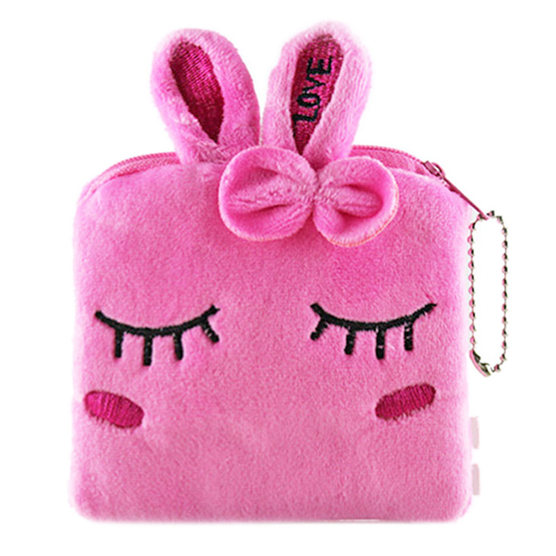 XYDYY Beautiful Rabbit Square Coin Purses Cartoon Plush Printed Coin Purse Corduroy Zipper Small Pouch Wallet Bag Handbag DHJ078