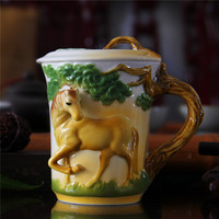 3D Animal Cups Colored Enamel Coffee Mark Mug Jingdezhen Ceramic Horse Drinkware with Lid Birthday Gift Drop Shipping