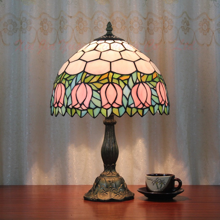 12inch European style Tiffany rose flower table lamp stained glass for living room  Bar Cafe bedroom bedside lamp fumat stained glass table lamp high quality goddess lamp art collect creative home docor table lamp living room light fixtures