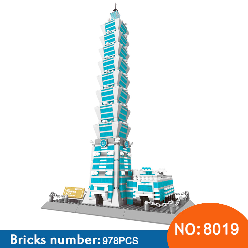 wange 8019 New Famous Architecture series The Taipei 101 3D Model Building Blocks Kits Classic Toys For Children(China)