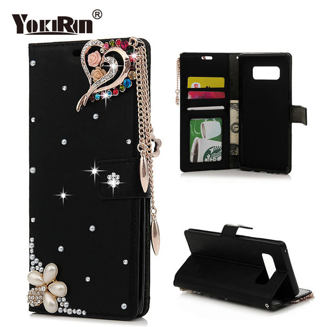 YOKIRIN Rhinestone Leather Case for Samsung Galaxy Note 8 Luxury Bling  Crystal Diamond Wallet Case Flip 0d16920fefa3