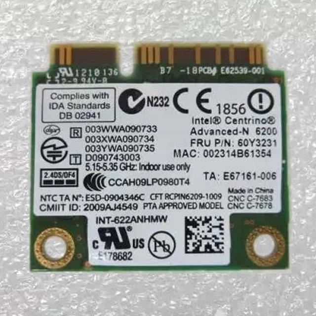 Int Centrino Advanced-N 6200 802.11abgn WiFi Card For Lenovo Thinkpad L410 L412 R400 SL410 SL510 X200 X201 Series,FRU 60y3231