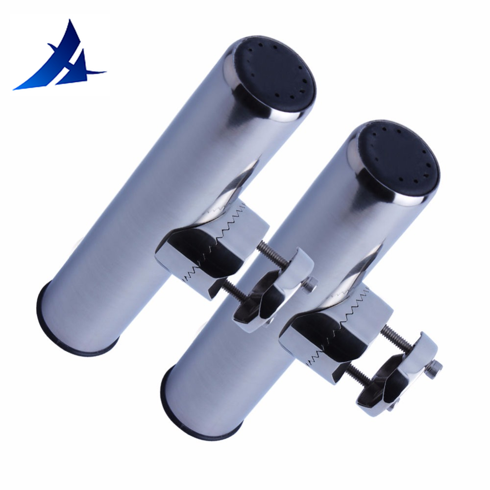 2 piece stainless clamp on fishing rod holder for rails 1 to 1 1/4 rail mount holders