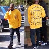 UNRESTRAINED Men S Hipster Hip Hop Long Sleeve Laker Letter Print T Shirts Longline Urban Clothing