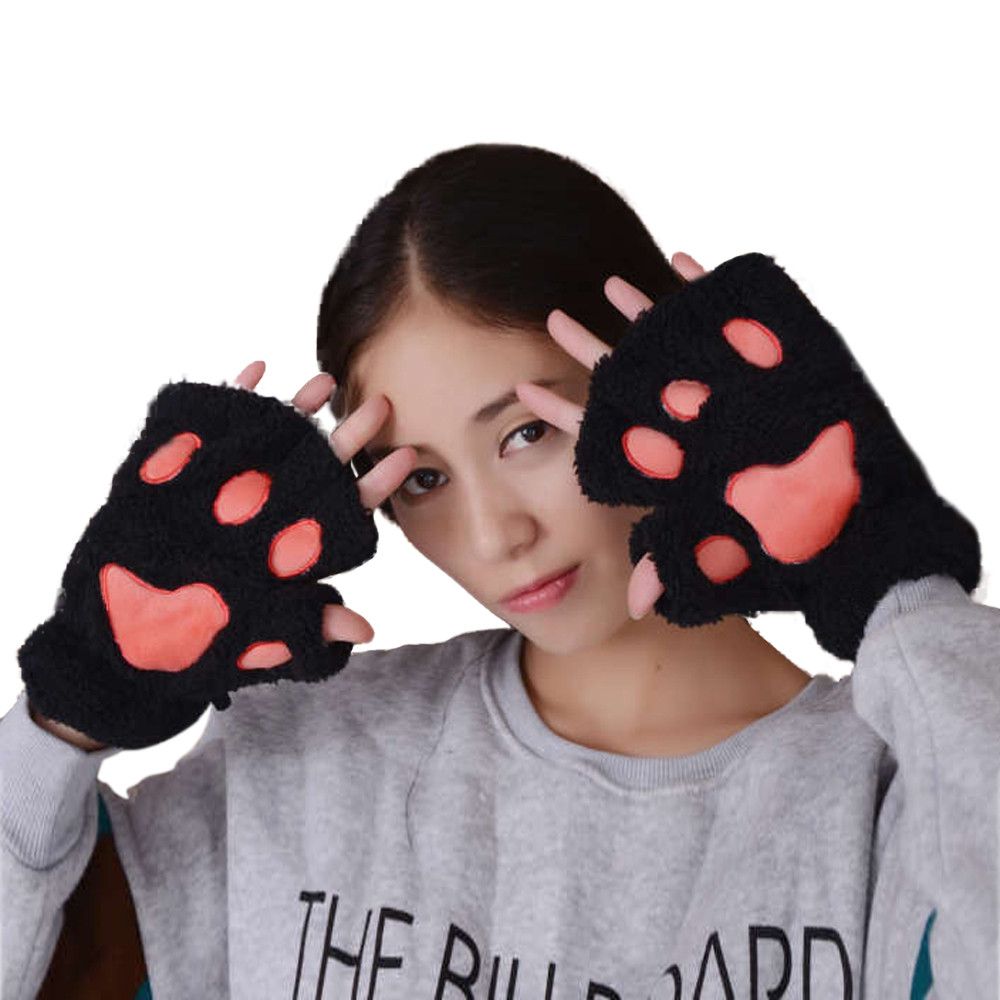 Half-Finger Gloves Cat-Paws Plush Warm Winter Women's Cute Fashion Casual New Solid Mitten