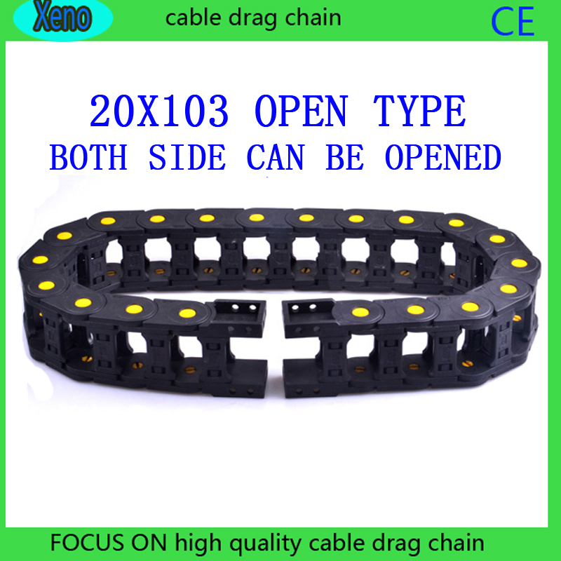 20x103mm 10 Meters Open Type Reinforced Nylon Wire Carrier With Yellow Points For CNC Route Machine best price 25 x 57 mm l1000mm cable drag chain wire carrier with end connectors for cnc router machine tools