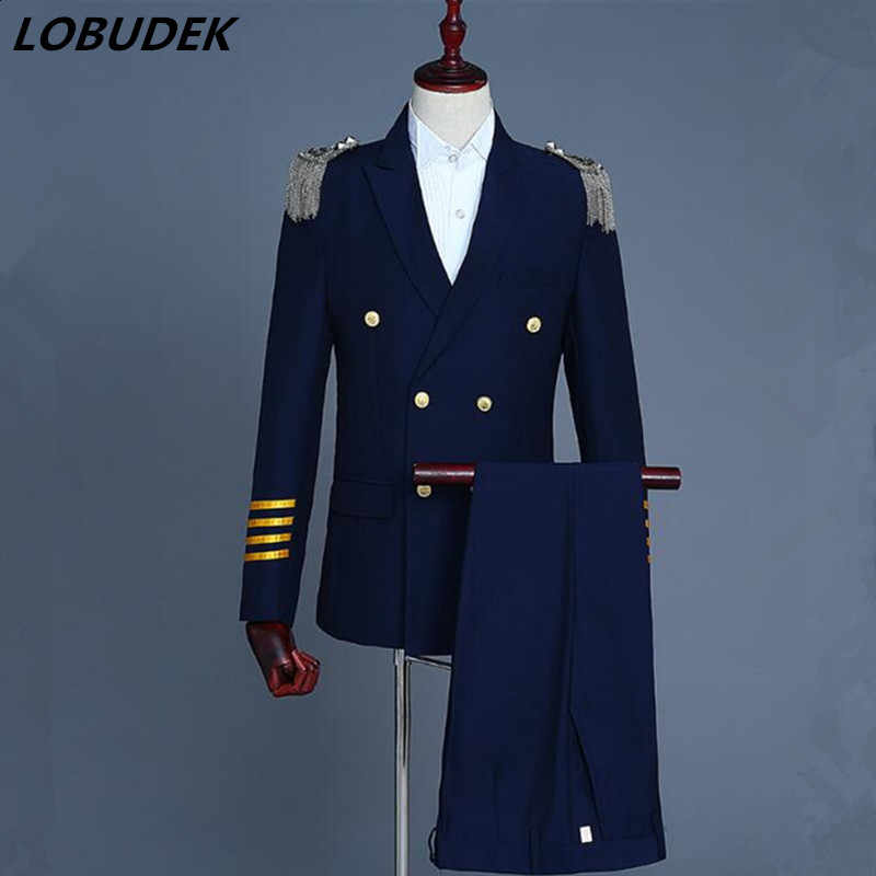 England style Double breasted male suit Tassels Epaulet uniforms Formal Men Suits Host stage costumes Singer performance outfits