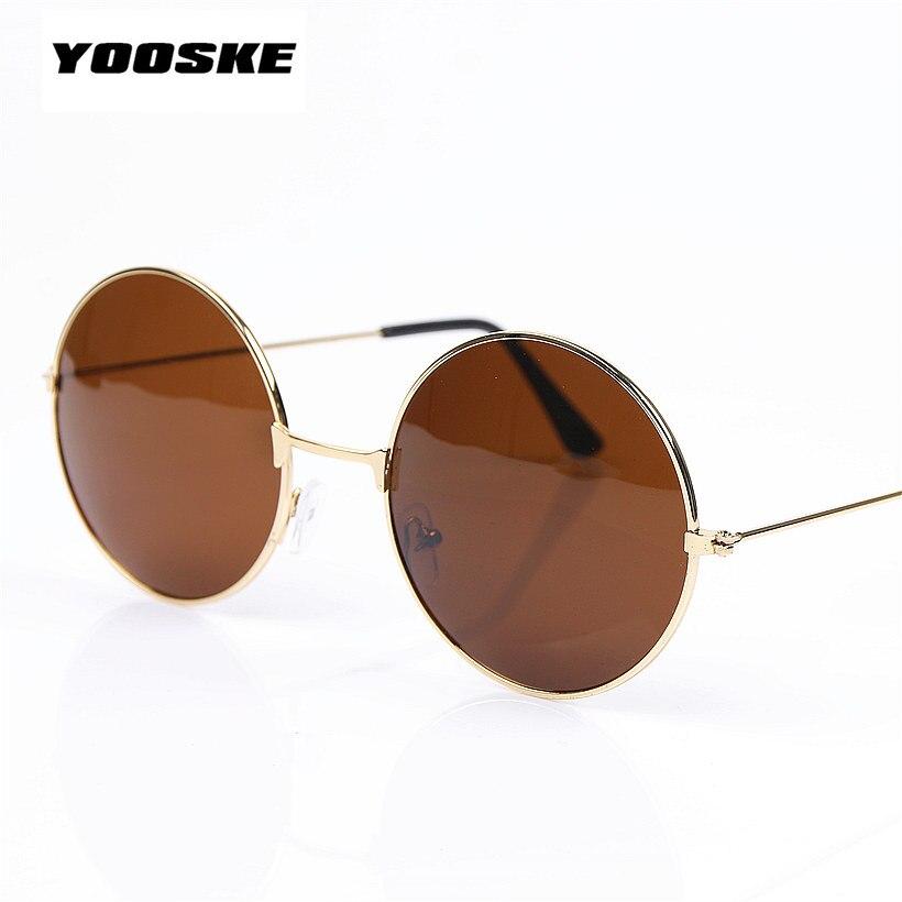 1641cc89b YOOSKE الأزياء جولة البني الأسود النساء الرجال العلامة التجارية مصمم النظارات  الشمسية الذهب متعددة خمر دائرة نظارات شمسية ل الإناث الذكور