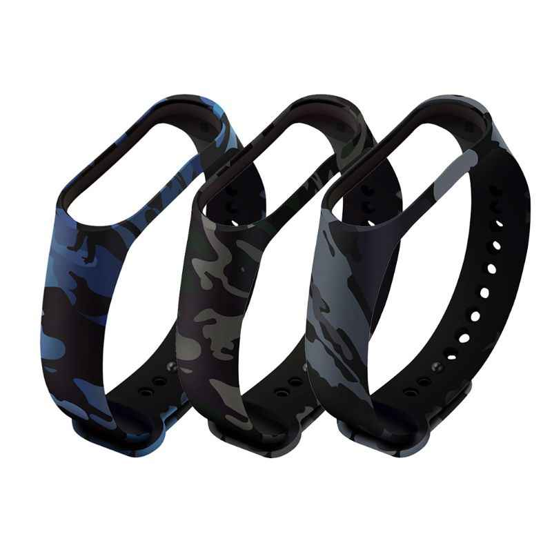 Durable Soft Camouflage Silicone Wristband Replacement Watch Band Strap For Xiaomi Mi Band 4 3 Smart Wristband