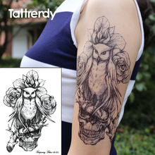 Black Ink Fake Temporary Tattoos Rose Flower Owl Death Skull Transfer Tattoo Stickers On The Body Arm Sleeve For Women Men HB653
