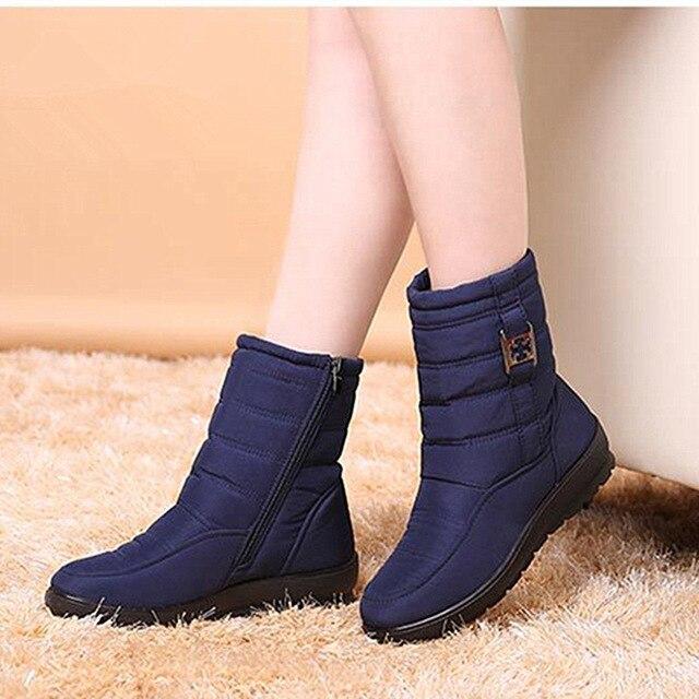 Botas de nieve de las mujeres 2018 casuales de la moda de invierno botas zapatos de mujer caliente del dedo del pie redondo de mujer con cremallera botas Zapatos plus tamaño