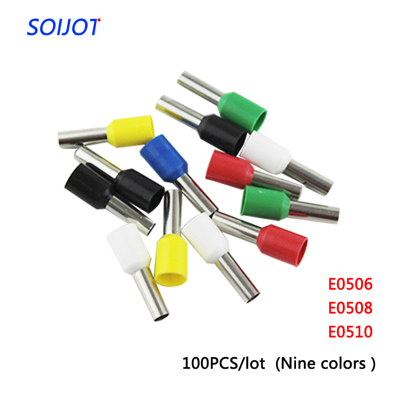 100PCSlot E0506 E0508 E0510 Tube insulating Insulated terminals 0.5MM2 Cable Wire Connector   Crimp Terminal VE0506 VE0508
