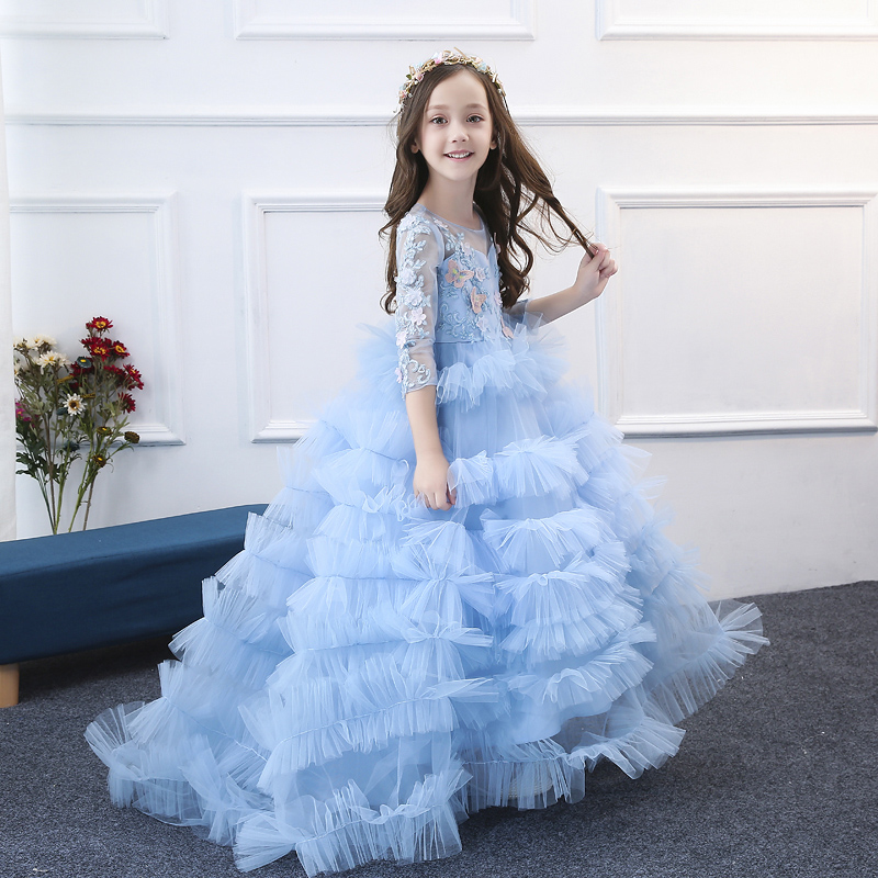 Appliques Kids Dress Birthday Party Floral Gowns Princess Girls Ball Gown Dress Long Trailing Lace Mesh Dresses for girl F504 luxury princess dress evening gowns birthday floral pearl beading girls formal dress detatchable trailing flower girl dresses b