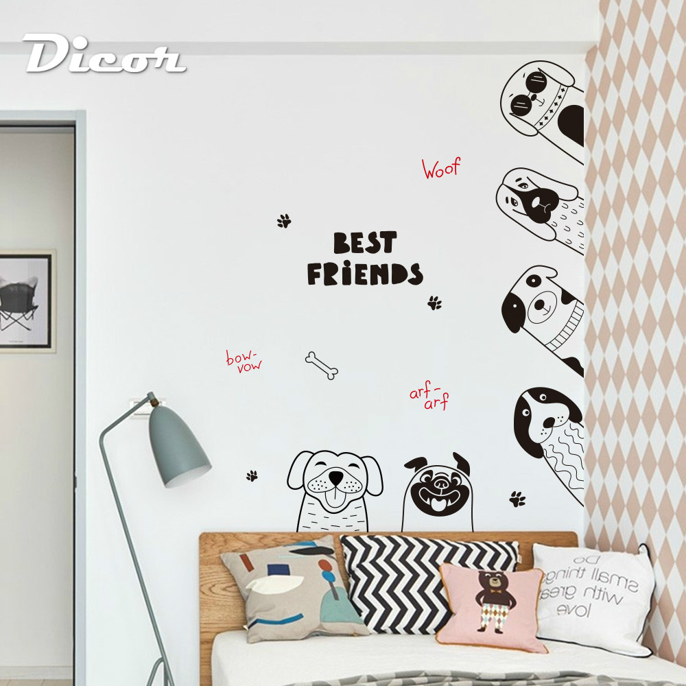Dicor Cute Dog Cartoon Wall Stickers For Kids Bedroom Decoration Kindergarten Nursery Decal Diy Qt1176kj 3mb Petcloud