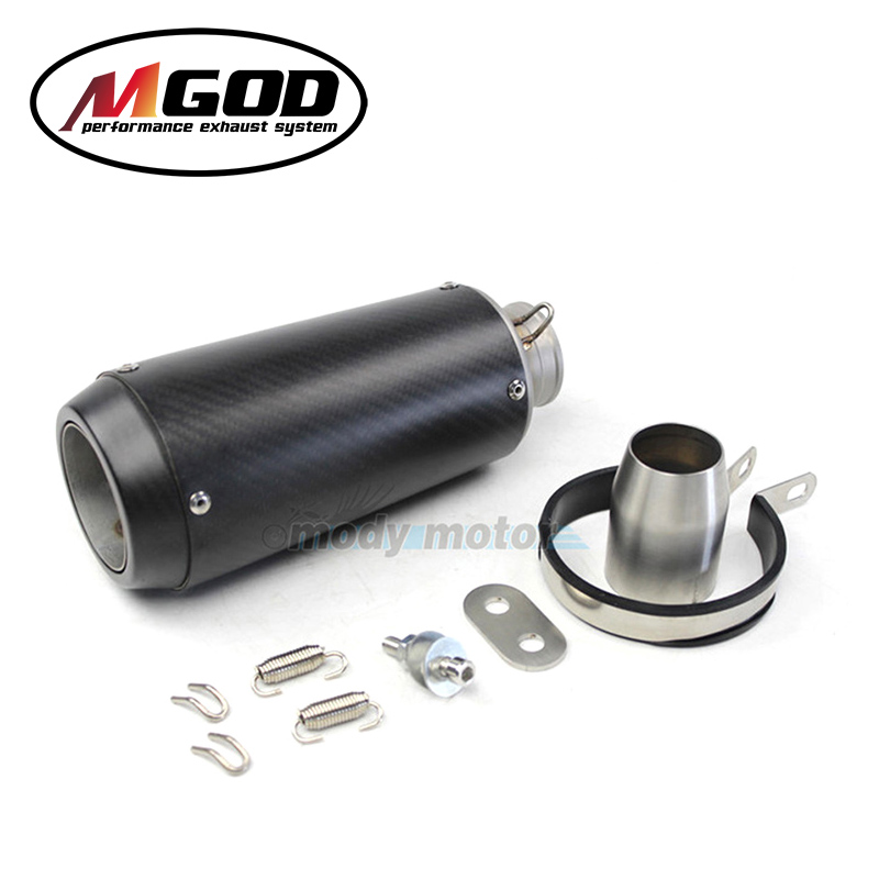 MGOD-51mm Universal Motorcycle Exhaust Muffler Modified  Real Carbon Fiber Stainless Steel Pipe