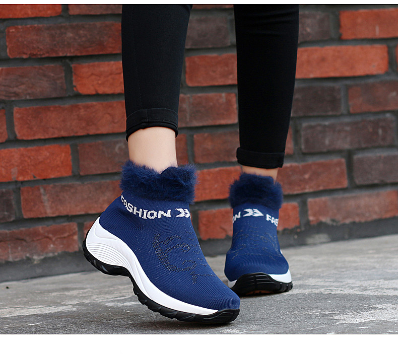 STS BRAND 2019 New Winter Ankle Boots Women Snow Boots Warm Plush Platform Sneakers Breathable Mesh Sneakers Travel Casual Shoes (21)
