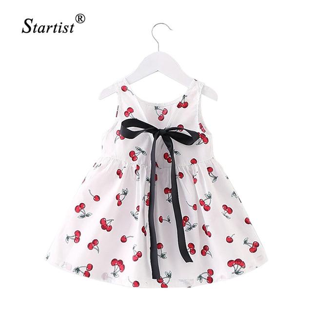 2017 New Baby Dress Infant Girl Dresses Cherry Print Baby Girls