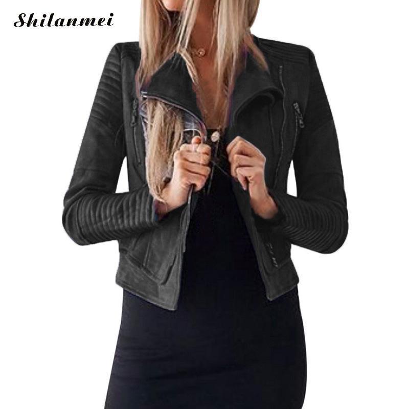 PU   Leather   Jackets Black Blue Solid PU Coat 2019 Fashion Winter Autumn Motorcycle Women   Leather   Solid Slim PU Coat Jacket Short
