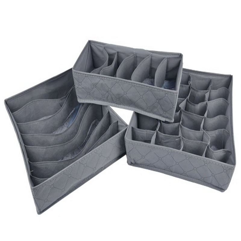 3 PCS/set Bamboo charcoal Non-woven Fabric Foldable Storage box underwear Organizer Bra Necktie Panties Socks Case Drawer(China)