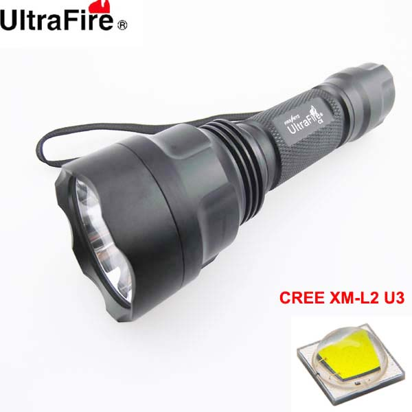 U-F C8 CREE XM-L2 U3 1800lm Cool White Light 5-Mode SMO LED Flashlight (1 x 18650)