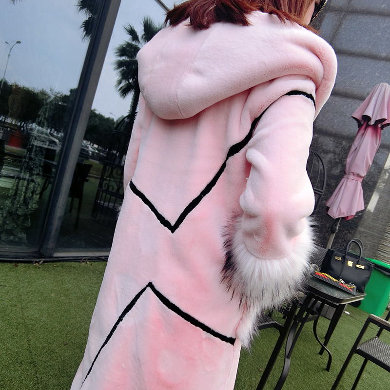 Veste Hiver Élégant Taille Faux Rose Manteau Nerazzurri Kawaii De Avec Grande Patchwork Femelle Capuche Lapin Fourrure Outwear Longue 7F06w1aq