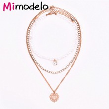 3a168a1b0d Online Shop European And American Pearl Full Drill Multi Layer Necklace Set  2017 New Fashion Gold Color Heart Shaped Pendant Necklaces   Aliexpress  Mobile