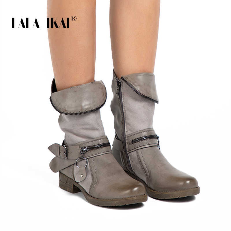 LALA IKAI Fermuar PU Deri Kadın Batı Çizme Katı Yuvarlak Ayak Kadife Bayanlar Kış Düz yarım çizmeler Moda 014A2191-4