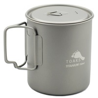 TOAKS Outdoor Hiking Camping Picnic Titanium Pot Mug Bowl 3 In1 Lightweight Camping Equipment 500ml 650ml