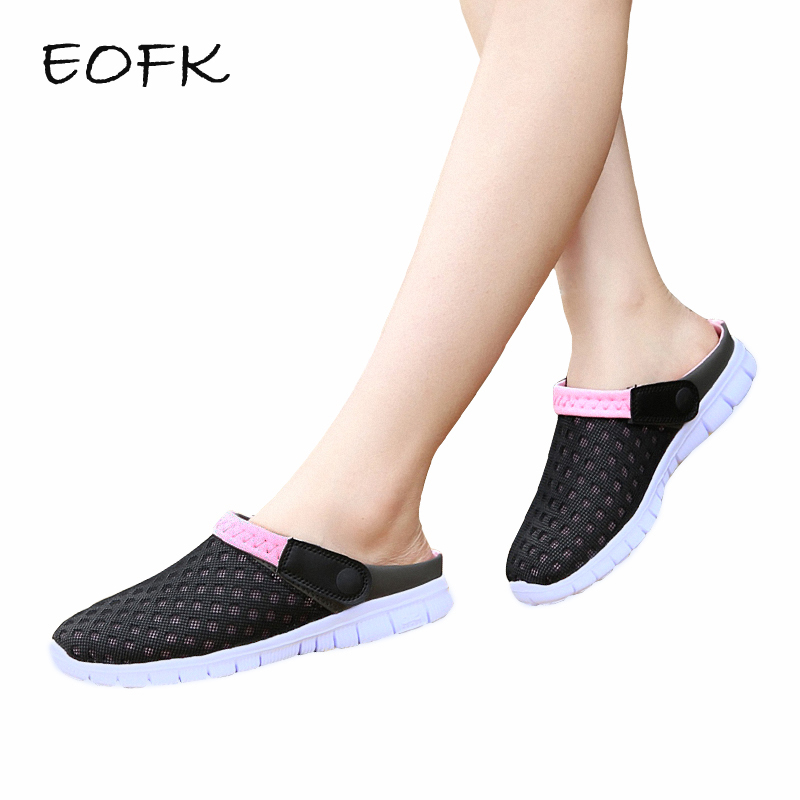 EOFK Women Sandals Women's Flat Shoes Summer 2018 Air Mesh Casual Shoes Woman Flats Beach Outdoor Slip on Shoes For Women босоножки