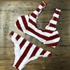 2017 New Stripe Bikini Set Women Summer Sexy V Neck Swimsuit Ladies Beach Bathing Suit Red
