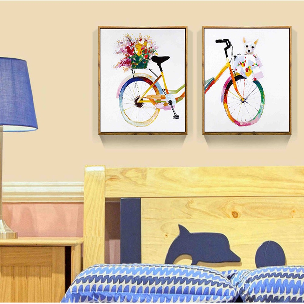 Nordic Decoration Flower Colorful Bicycle Dog Chihuahua Oil Canvas ...