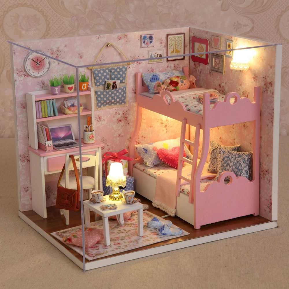Cute Pink DIY Wooden Doll House Girls Children Flashing Bedroom Set LED Light-up Toys Assembled Building Model Craft Toys Gifts