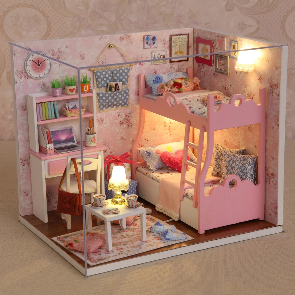 Kids Bedroom Furniture Kids Wooden Toys Online: Cute Pink DIY Wooden Doll House Girls Children Flashing