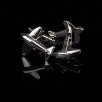 Stainless Steel Silver Vintage Men's Wedding Gift Cufflink Plane Model Cuff Link T15