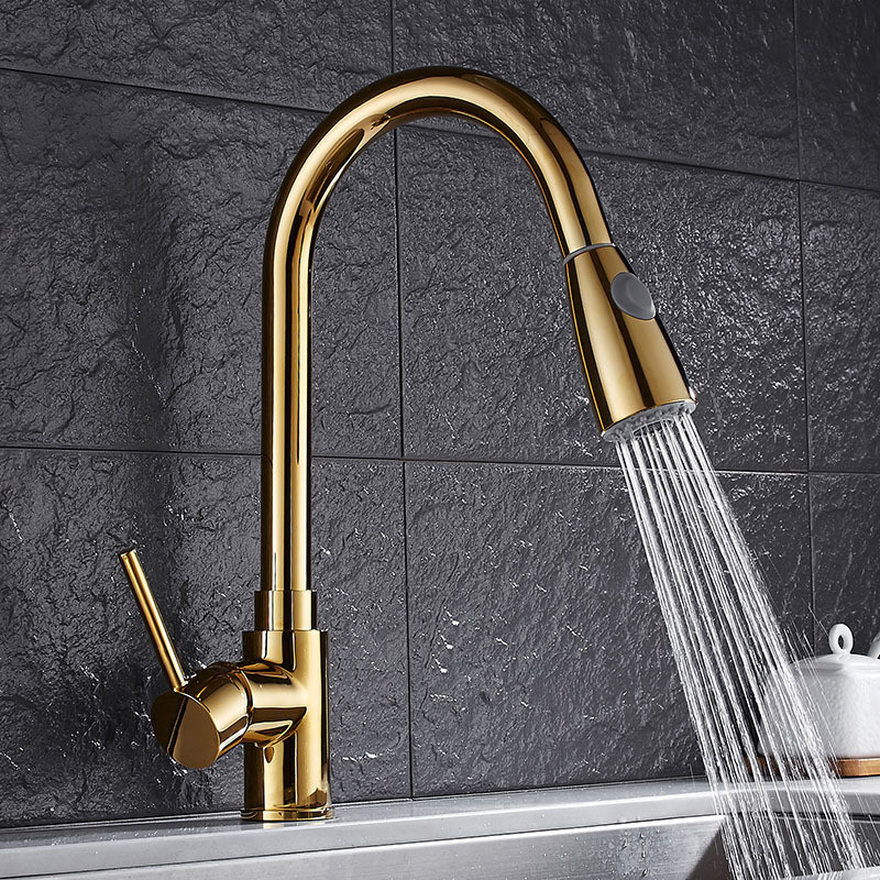 Kitchen Sink Faucets Gold Brass Hot & Cold Single Handle Pull Out Spray Nozzle Sink Mixer Tap Deck Mounted Rotating Kitchen Tap