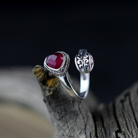 Character silver products, new listing, fresh natural temperament, Ms. S925 heart red corundum rings