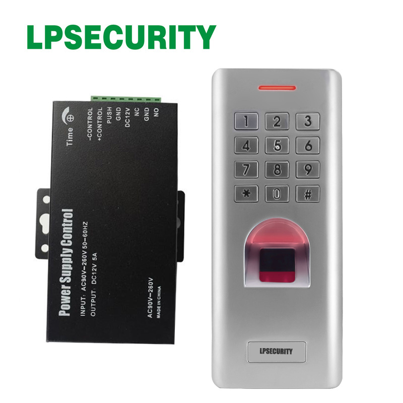 IP66 1000 users Standalone fingerprint keypad access control reader with power adapter supply 12v 5a for door lock gate openerIP66 1000 users Standalone fingerprint keypad access control reader with power adapter supply 12v 5a for door lock gate opener