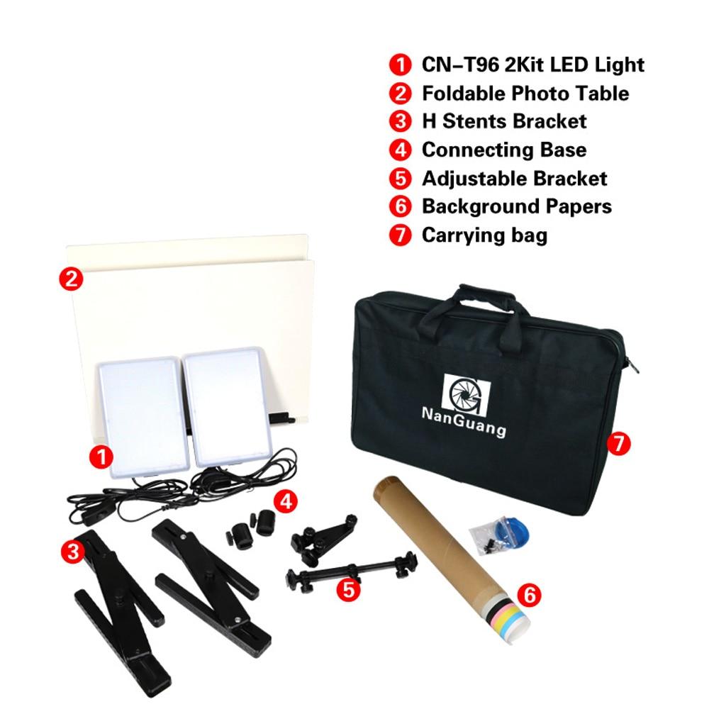 NanGuang LED Photo Light Lamp CN-T96 2 Kit 220V Photographic Lighting with Mini Shooting Table & Background Paper Kit fancier led portable shooting table kit